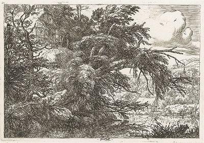 Коттедж на холме. Офорт Якоба ван Рейсдала, ок. 1660 года.