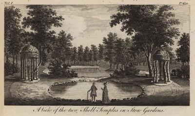 Живописный вид на два храма из ракушек в садах Стоу в Бэкингемшире (из A New Display Of The Beauties Of England... Лондон. 1776 год. Том 1. Лист 279)