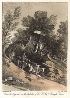 Коровы и пастух. Гравюра с рисунка знаменитого английского пейзажиста Томаса Гейнсборо из коллекции баронессы Лукас. A Collection of Prints ...of Tho. Gainsborough, Лондон, 1819.