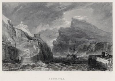 """Боскасл в графстве Корнуолл (лист из альбома """"Галерея Тёрнера"""", изданного в Нью-Йорке в 1875 году)"""