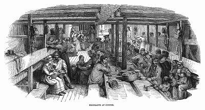 Обед эмигрантов, людей разных рабочих профессий на борту корабля британского флота, следующего в Сидней, являвшийся местом первого колониального европейского поселения в Австралии (The Illustrated London News №102 от 13/04/1844 г.)