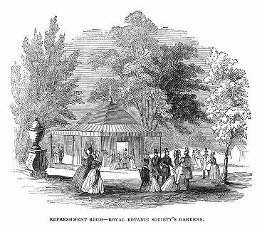 Ротонда с буфетом, сооружённая в Риджентс-парке во время фестиваля Лондонского Королевского ботанического общества, основанного в 1839 году (The Illustrated London News №105 от 04/05/1844 г.)