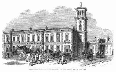 Здание железнодорожной станции в Саутворке, городском округе на юге Лондона, построенное в 1844 году группой английских архитекторов в стиле итальянского палаццо (The Illustrated London News №92 от 03/02/1844 г.)