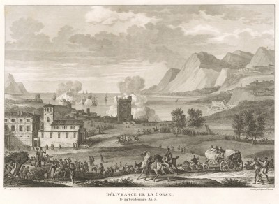 Освобождение Корсики от англичан 25 сентября 1796 г. Tableaux historiques des campagnes d'Italie depuis l'аn IV jusqu'á la bataille de Marengo. Париж, 1807