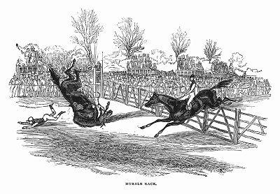 Стипл-чейз -- скачки по пересечённой местости до заранее условленного пункта, проводимые в графстве Нортгемптоншир (The Illustrated London News №100 от 30/03/1844 г.)