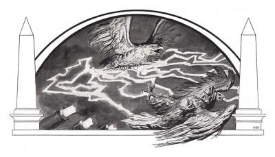 Французский орел, повергающий орла - символ Пруссии. Франц Стассен для Die Deutschen Befreiungskriege 1806-1815. Берлин, 1901