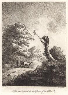 Коровы и пастух, идущие по дороге. Гравюра с рисунка знаменитого английского пейзажиста Томаса Гейнсборо из коллекции Дж. Хибберта. A Collection of Prints ...of Tho. Gainsborough, Лондон, 1819.