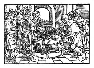 Торговля кораллами. Иллюстрация Йорга Бреу Старшего к описанию путешествия на восток Лодовико ди Вартема: Ludovico Vartoman / Die Ritterliche Reise. Издал Johann Miller, Аугсбург, 1515