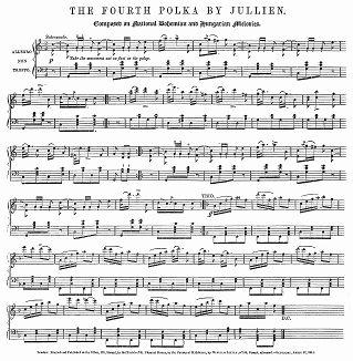 Ноты польки, написанной Луи Антуаном Жюльеном (1812 -- 1860 гг.) -- французским дирижёром и композитором, который в 1859 году во Франции был арестован за долги и в тюрьме повредился рассудком (The Illustrated London News №104 от 27/04/1844 г.)