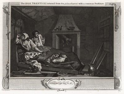 Праздный. Подмастерье с проституткой на чердаке, 1747. Лентяй Томас скрывается от правосудия. Он живет в нищенской обстановке с проституткой. Страшась ареста, он с ужасом просыпается среди ночи из-за прыгнувшей кошки. Геттинген, 1854