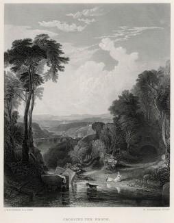 """Переправа через ручей (лист из альбома """"Галерея Тёрнера"""", изданного в Нью-Йорке в 1875 году)"""