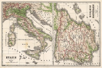 Карта Италии, Испании и Португалии. Новый учебный географический атлас для полного гимназического курса, состоящий из 38 карт. Санкт-Петербург, 1907