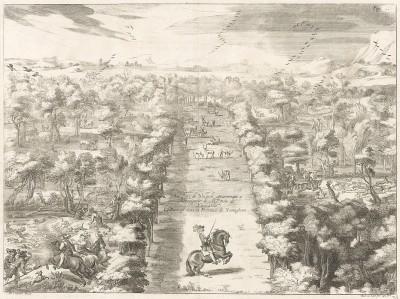 Герцог Ньюкасл в своем парке Уельбек в Ноттингеме. La methode nouvelle et invention extraordinaire de dresser les chevaux… л.38. Лондон, 1737