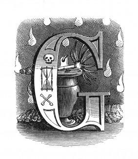 Инициал (буквица) G, предваряющий пятьдесят шестую главу «Истории императора Наполеона» Лорана де л'Ардеша о последних годах и смерти Наполеона. Париж, 1840
