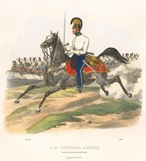 Офицер австрийских драгун в 1830-е гг. (из K. K. Oesterreichische Armée nach der neuen Adjustirung in VI. abtheil. III te. Abtheil. Cavallerie. Лист 5. Вена. 1837 год)
