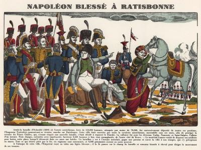 """Ранение Наполеона в сражении при Ратисбонне 19-23 апреля 1809 года. Илл. к пьесе С.Гитри """"Наполеон"""". Репринт ксилографии Ф.Жоржена.  Париж, 1955"""