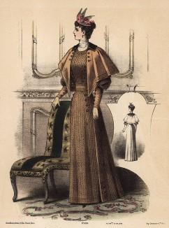 Приталенное шерстяное платье с накидкой. Из французского модного журнала Le Coquet, выпуск 294, 1892 год
