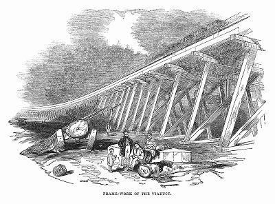 Несущий остов железнодорожного виадука, построенного с применением деревянных конструкций предприимчивыми британскими инженерами Томасом Грисселом (1801 -- 1874 гг.) и Сэром Сэмюэлем Пето (1809 -- 1889 гг.) (The Illustrated London News №105 от 04/05/1844 г.)