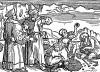 Добыча драгоценных камней. Иллюстрация Йорга Бреу Старшего к описанию путешествия на восток Лодовико ди Вартема: Ludovico Vartoman / Die Ritterliche Reise. Издал Johann Miller, Аугсбург, 1515