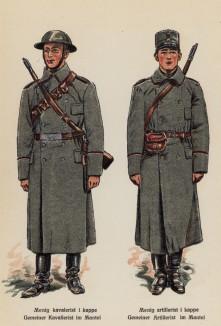 Рядовые кавалерии и артиллерии армии Норвегии в зимней форме одежды (лист 4 работы Den Norske haer. Organisasjon bevaebning, og uniformsbeskrivelse, изданной в Лейпциге в 1932 году)