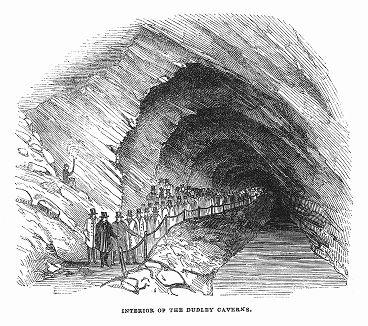 Внутренняя часть пещеры, образовавшейся в старых карьерах известняка в английском городе Дадли в графстве Западный Мидлендс (The Illustrated London News №88 от 06/01/1844 г.)