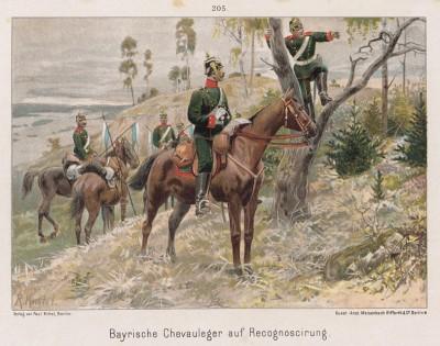 1890-е гг. Баварская кавалерия на рекогносцировке. Vaterland in Waffen. Illustrierte Unterhaltungsblätter für das deutsche Volk und Heer, л.205. Берлин, 1895
