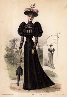 Приталенное чёрное платье с рукавами-фонариками, элегантная шляпа с розовыми перьями и парасоль. Из французского модного журнала Le Coquet, выпуск 293, 1892 год