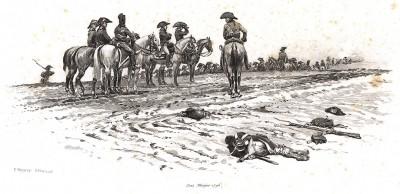 Штаб-офицеры французской армии эпохи революционных войн на поле боя в 1796 году (из Types et uniformes. L'armée françáise par Éduard Detaille. Париж. 1889 год)