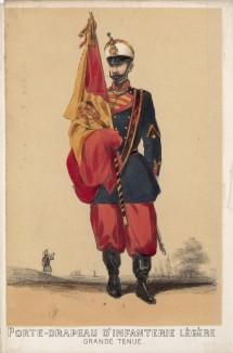 1860-е гг. Знаменосец испанской лёгкой пехоты в парадной форме (из альбома литографий L'Espagne militaire, изданного в Париже в 1860 году)