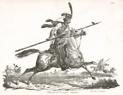 Казак на лошади донской породы. Cheval de cosaque regulier (фр.). Лист VIII серии литографий Suite de chevaux. По данным Journal general d'annonces des œuvres de musique, gravures, litographies за 1827 г., лист издан и продавался в Париже в том же году