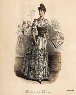 Зелёное платье для казино, обильно украшенное вышивкой и бантами. Из французского модного журнала Le Coquet, выпуск 243, 1888 год