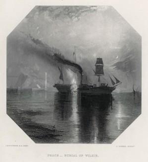"""Похороны в море (лист из альбома """"Галерея Тёрнера"""", изданного в Нью-Йорке в 1875 году)"""