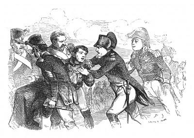 Сражение при Асперн-Эсслинге 21-22 мая 1809 г. Французская армия заперта на острове Лобау посреди Дуная. В бою под Эслингом тяжело ранен маршал Ланн. 31 мая он умирает от полученных ран. Histoire de l'empereur Napoléon, Париж, 1840