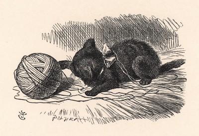 Китти от души забавлялась, играя с клубком шерсти, которую Алиса мотала поутру (иллюстрация Джона Тенниела к книге Льюиса Кэрролла «Алиса в Зазеркалье», выпущенной в Лондоне в 1870 году)