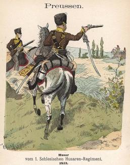 Прусские гусары в униформе образца 1813 г. Uniformenkunde Рихарда Кнотеля, часть 2, л.29. Ратенау (Германия), 1891