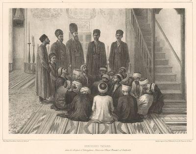 Дервиши в мечети Карасу-Базара 18 октября 1837 года (из Voyage dans la Russie Méridionale et la Crimée... Париж. 1848 год (лист 76))