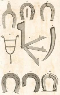 Инструменты для изготовления подков для лошадей. Из англоязычного издания бестселлера XVII-XVIII вв. A General System of Horsemanship in Аll It's Вranches герцога Ньюкасла, том I. Лондон, 1743