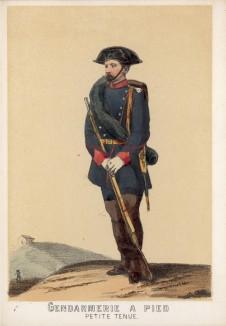 Испанский пеший жандарм в походной форме образца 1860 года (из альбома литографий L'Espagne militaire, изданного в Париже в 1860 году)