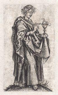 Святой Пантелеимон. Зеркальная копия с гравюра Мартина Шонгауэра, около 1480-1500 гг.