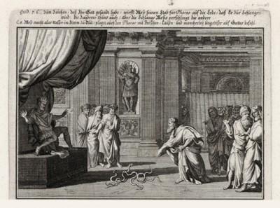 Моисей превращает змею в посох (из Biblisches Engel- und Kunstwerk -- шедевра германского барокко. Гравировал неподражаемый Иоганн Ульрих Краусс в Аугсбурге в 1700 году)