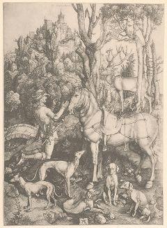 Святой Евстафий, покровитель охотников. Гравюра Альбрехта Дюрера, выполненная ок. 1500 года (Репринт 1928 года. Лейпциг)
