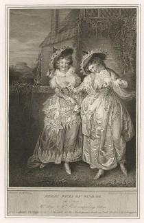 """Иллюстрация к комедии Шекспира """"Виндзорские проказницы"""", акт II, сцена I: Миссис Форд и миссис Пейдж сравнивают письма, полученные от Фальстафа. Boydell's Graphic Illustrations of the Dramatic works of Shakspeare, Лондон, 1803."""