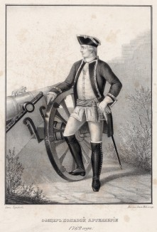 Историческое описание одежды и вооружения российских войск... А. В. Висковатова. Офицер полевой артиллерии 1762 года (лист 407)
