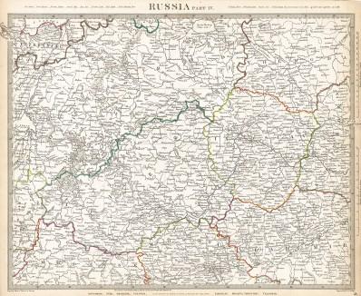 Карта Европейской России (часть 4). Maps of the Society for the Diffusion of Useful Knowledge. Лондон, 1834