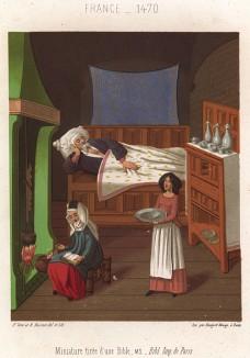 Отдых главы семьи: пожилой господин спит, а его жена и дочь занимаются домашним хозяйством (из Les arts somptuaires... Париж. 1858 год)
