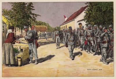 Австро-венгерские егеря на марше (из редкого альбома Der Osterr. Ung. Soldat mit waffe und Werkzeug. Armee-Bilderbuch (нем.), изданного в Штраубинге (Германия) в 1911 году)
