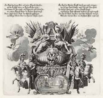 Саул мечет копье в играющего на арфе Давида (из Biblisches Engel- und Kunstwerk -- шедевра германского барокко. Гравировал неподражаемый Иоганн Ульрих Краусс в Аугсбурге в 1700 году)