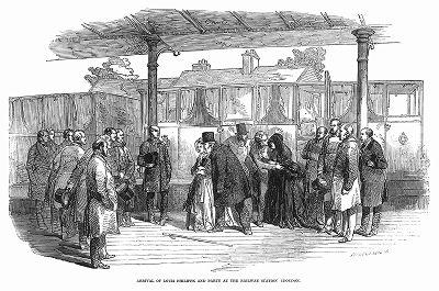 Прибытие изгнанного французской буржуазно--демократической революцией 1848 года короля Луи--Филиппа I на лондонский железнодорожный вокзал Кройдон (The Illustrated London News №307 от 11/03/1848 г.)