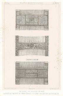 Французские гребни из самшита и слоновой кости, XVI век. Meubles religieux et civils..., Париж, 1864-74 гг.