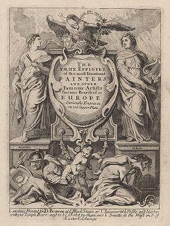 """Титульный лист издания """"Портреты наиболее выдающихся художников и других известных деятелей искусства, работавших в Европе"""".  Лондон, 1694 год."""